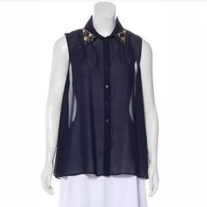 Aqua Bloomingdales Embellished Blouse Navy Small